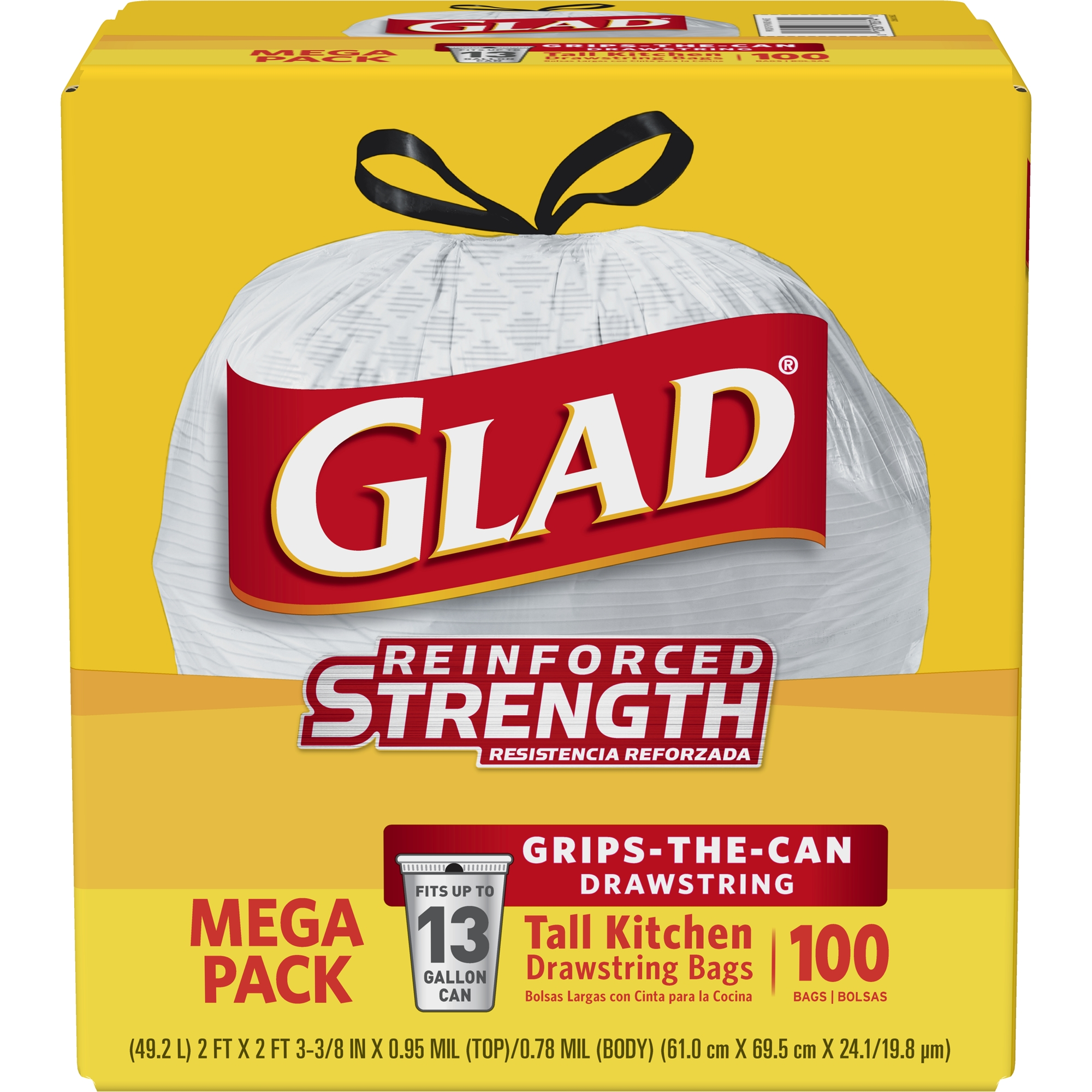 Glad Tall Kitchen Drawstring Trash Bags - 13 gal - 100 ct