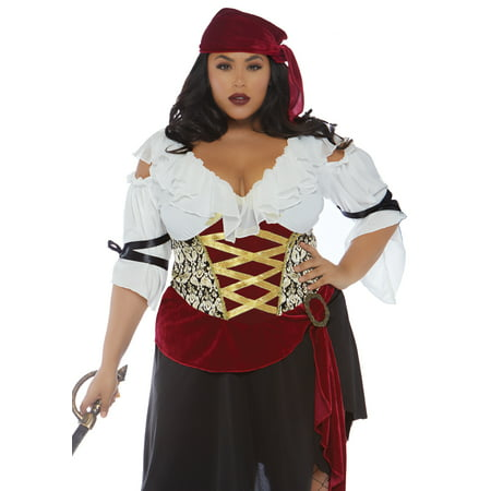 Leg Avenue Women's Plus Size 2 PC Pirate Wench Costume, Multi, 3X-4X