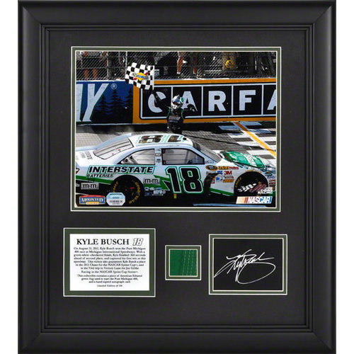 Kyle Busch Framed 8x10 Photograph | Details: 2011 Michigan 400 Victory, with Autograph Card, Green Flag - Limited Edition of 118