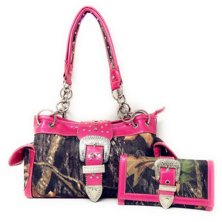 Premium Polyester Womens Shoulder Handbags Camouflage Rhinestone Western Buckle Purse/Wallet Set