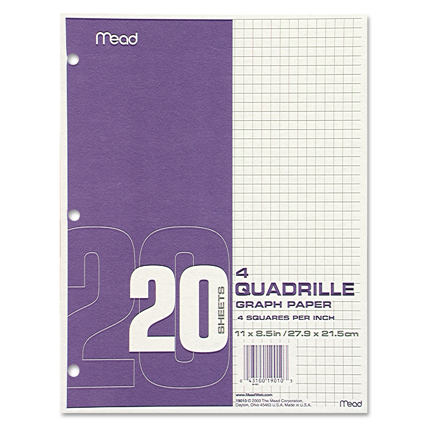 Mead Graph Paper Quadrille  SqIn   X  White