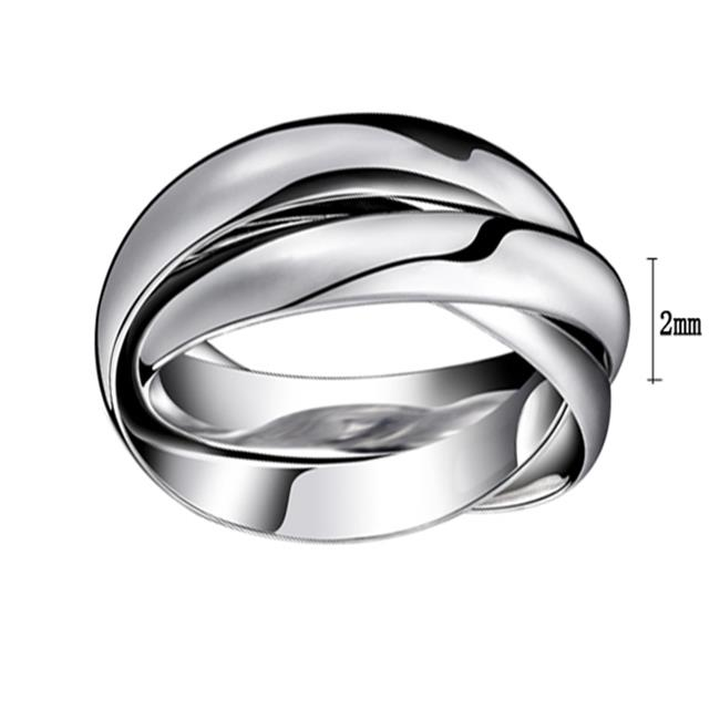 ES Jewel GJ005N7 3 In 1 Stainless Steel Ring - Rose Gold Plating, Silver, Size 7, Unisex