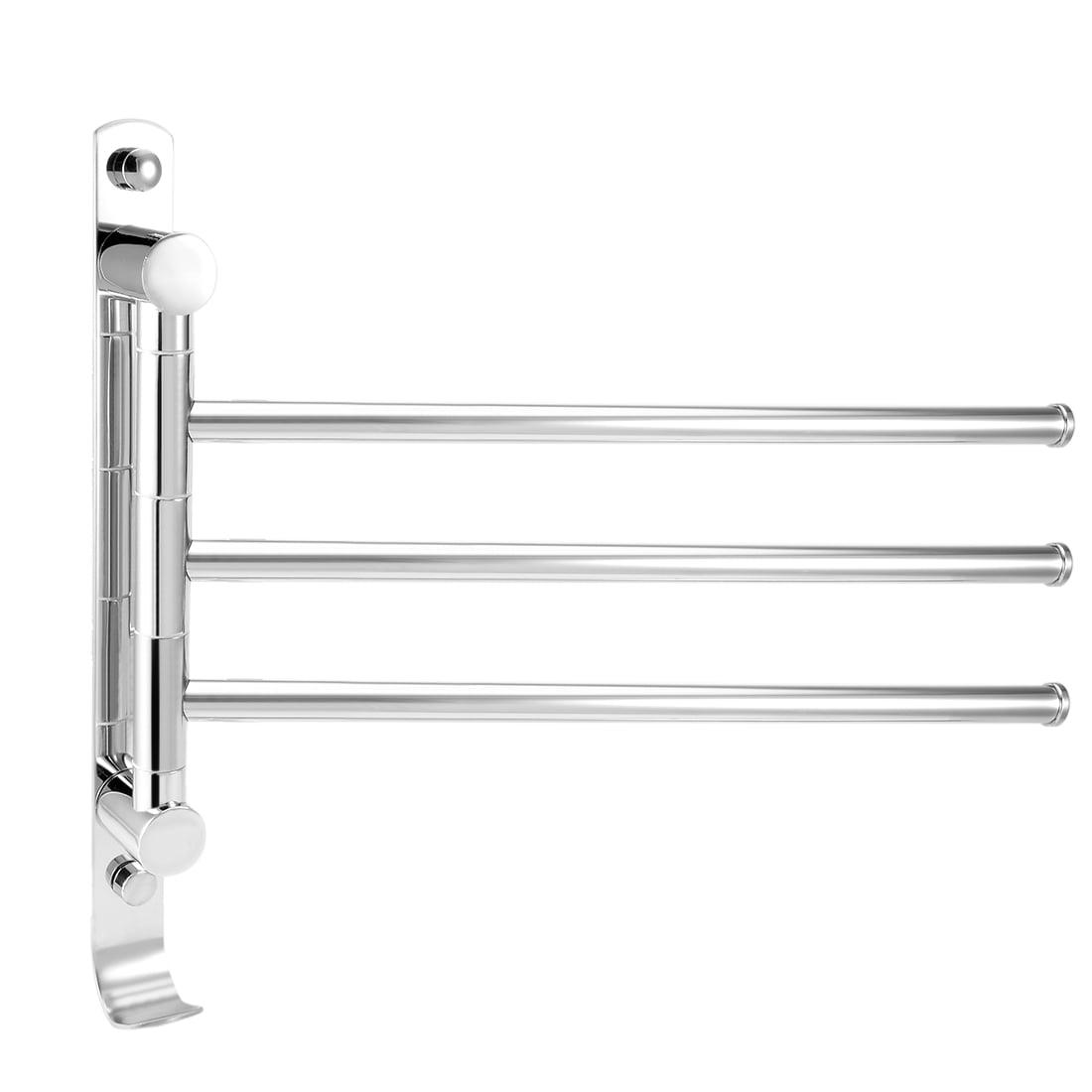 201 Stainless Steel 3 Bar Folding Arm Swivel Hanger Towel Rail Chrome Planted - image 4 of 4