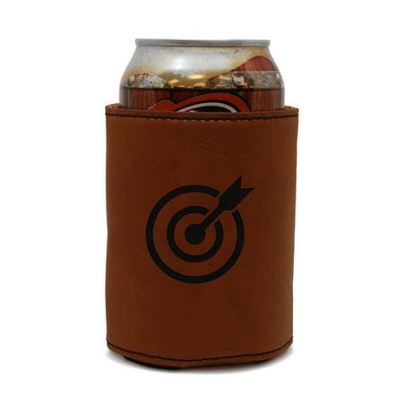 Bullseye Leather Can Sleeve  Beer Sleeve  Beer Cooler  Beer Hugger