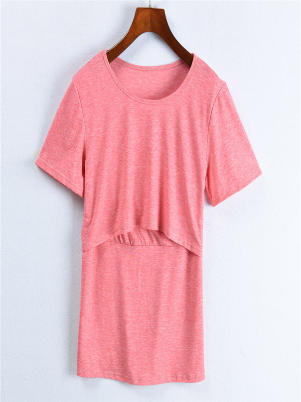 Women's Maternity Nursing Wrap Double Layer Short Sleeve Blouse T Shirt