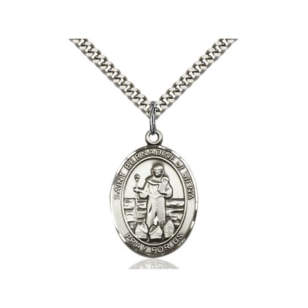 Sterling Silver St. Bernadine Of Sienna Pendant 1 x 3/4 inches with Heavy Curb Chain