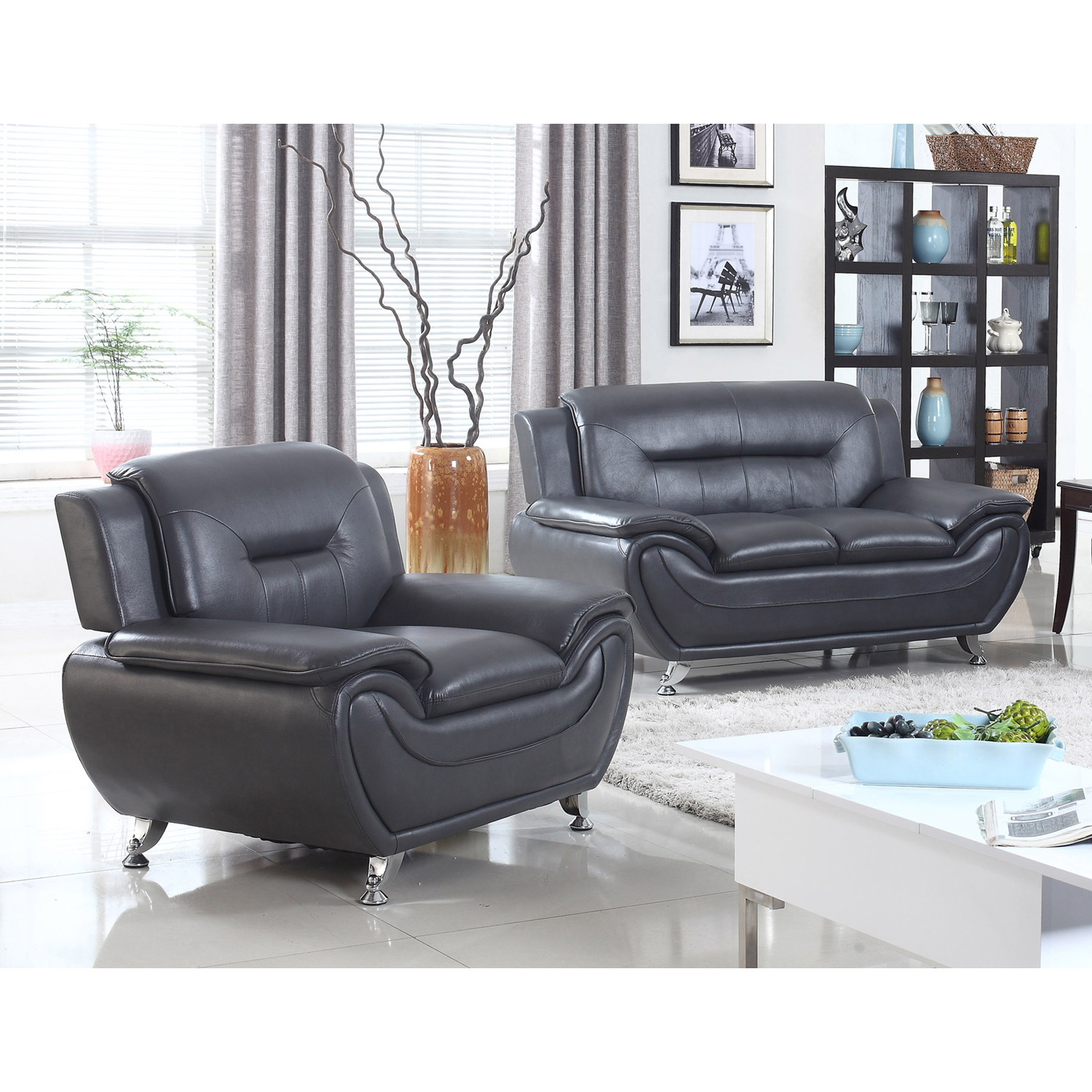 Norton Black Faux Leather Modern Living Room Loveseat and Chair Set