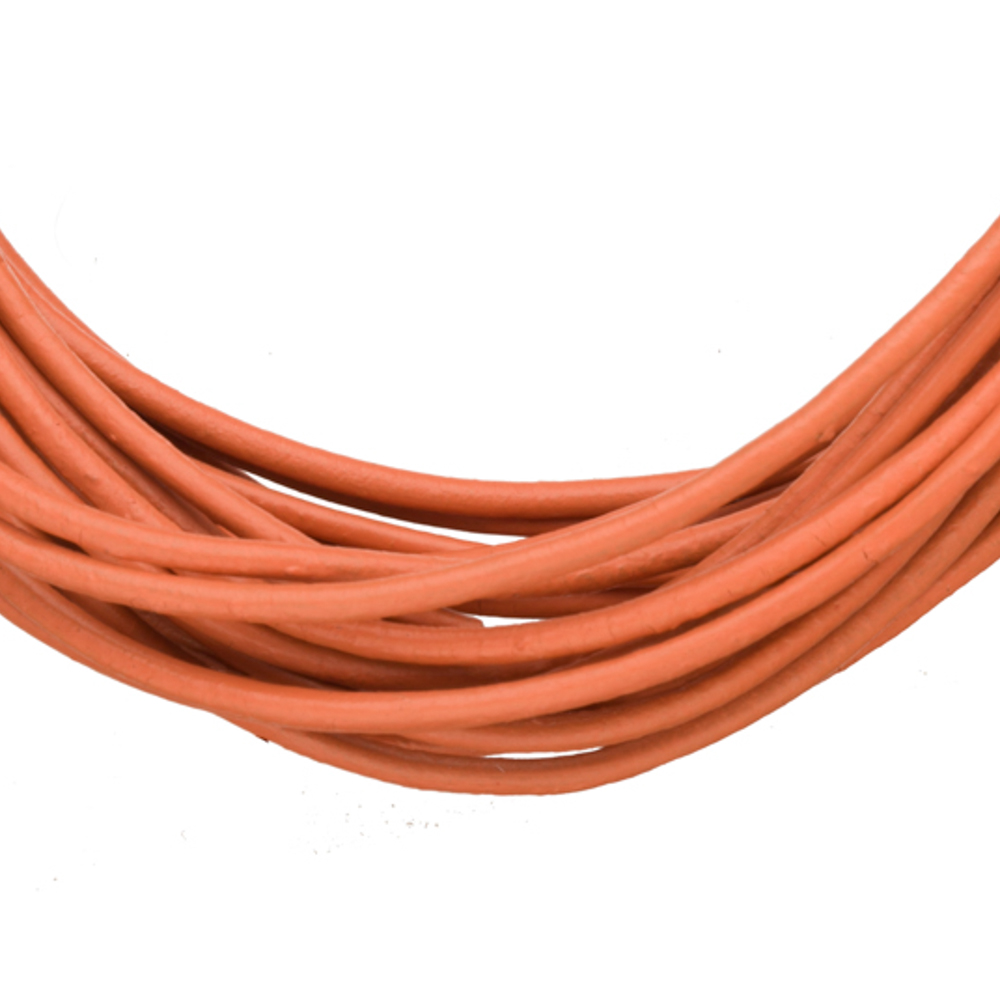 Full-Grain Genuine Leather Cord, 1.5mm Round Coral 5 Yard