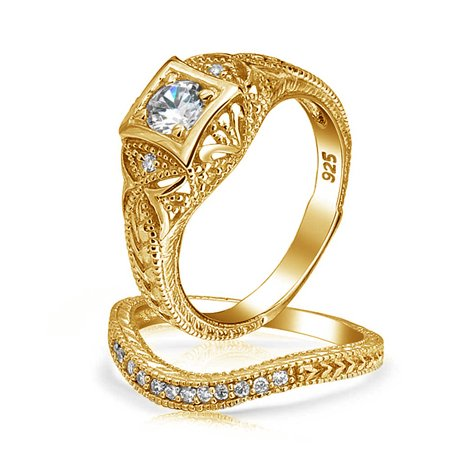 1CT Deco Style Solitaire Round AAA CZ Pave Contoured Band Engagement Wedding Ring Set 14K Gold Plated Sterling