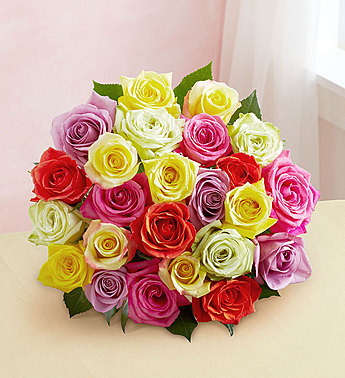 1-800-Flowers: Fresh Flowers - Two Dozen Assorted Roses Bouquet Only