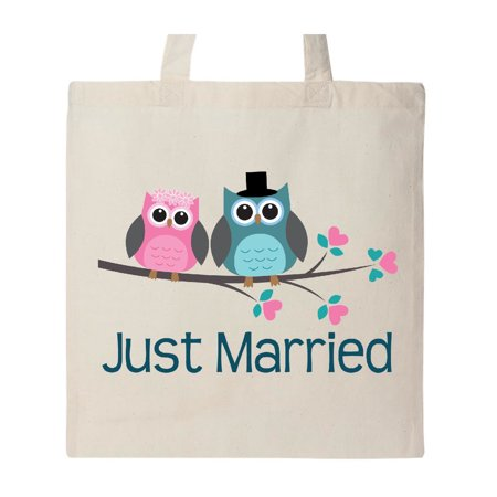 Just Married Owl Couple Tote Bag Natural One Size