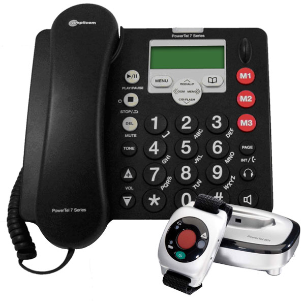 AMPLICOM AMPLIFIED CORDED PHONE W/INTEGRATED ANSWERING & ...