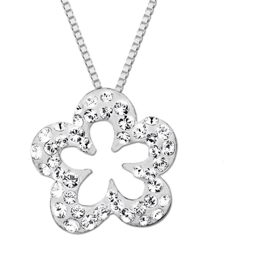 Luminesse Sterling Silver Flower Pendant with White Swarovski Elements