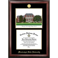"Mississippi State 8.5"" x 11""Gold Embossed Diploma Frame with Campus Images Lithograph"
