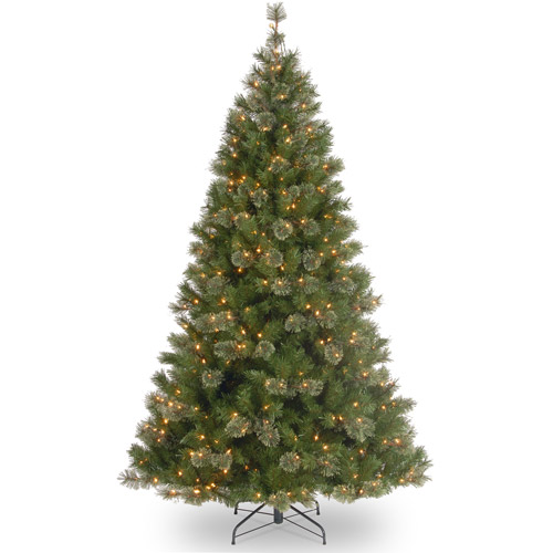 National Tree Pre-Lit 7-1/2' Atlanta Spruce Hinged Artificial Christmas Tree with 550 Clear Lights
