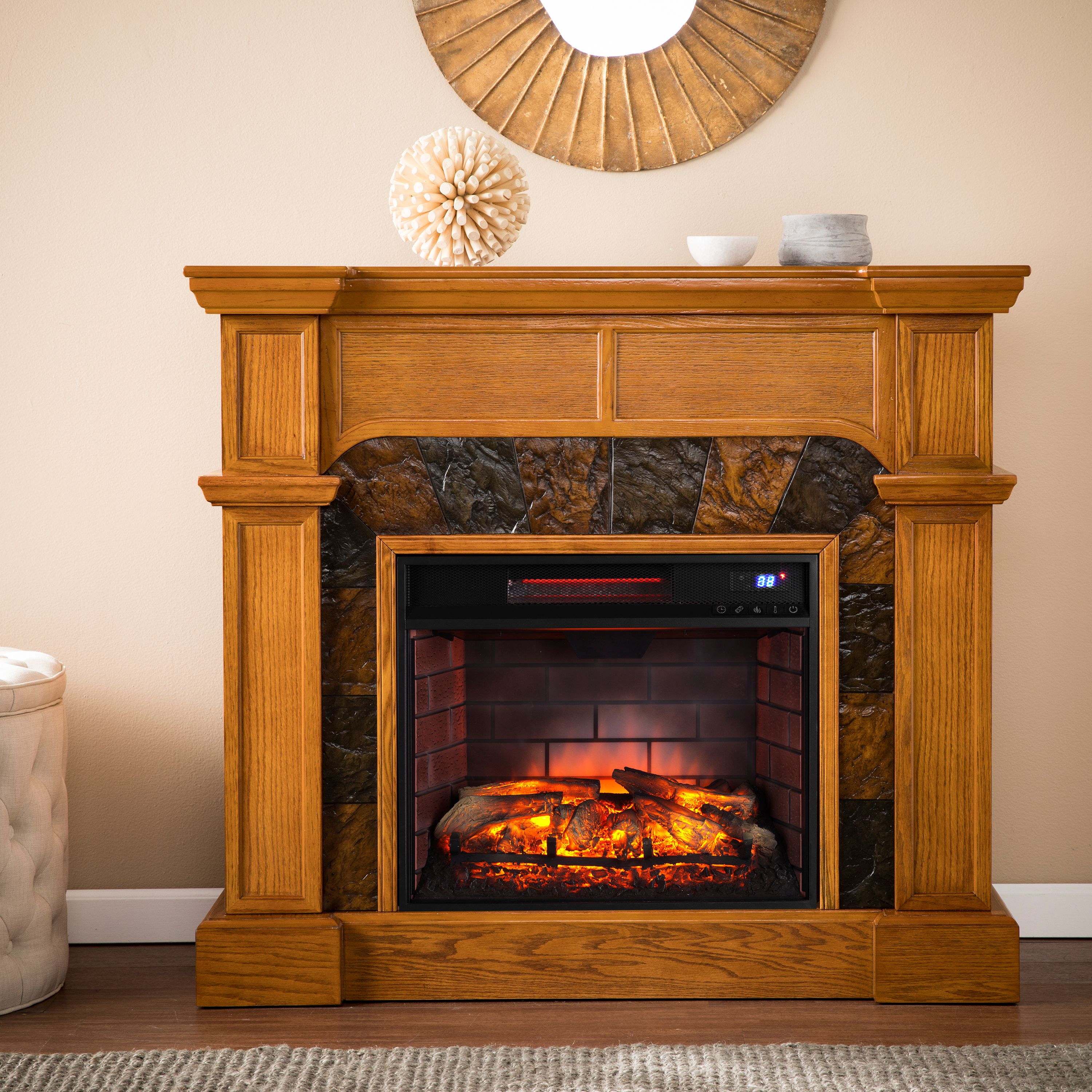 Blaise Corner Faux Stone Infrared Fireplace, Oak