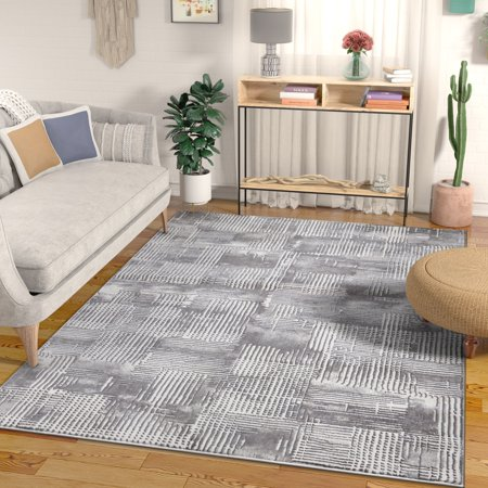 Canny Grey Modern Geometric High-Low Pile Area Rug 5x7 (5'3
