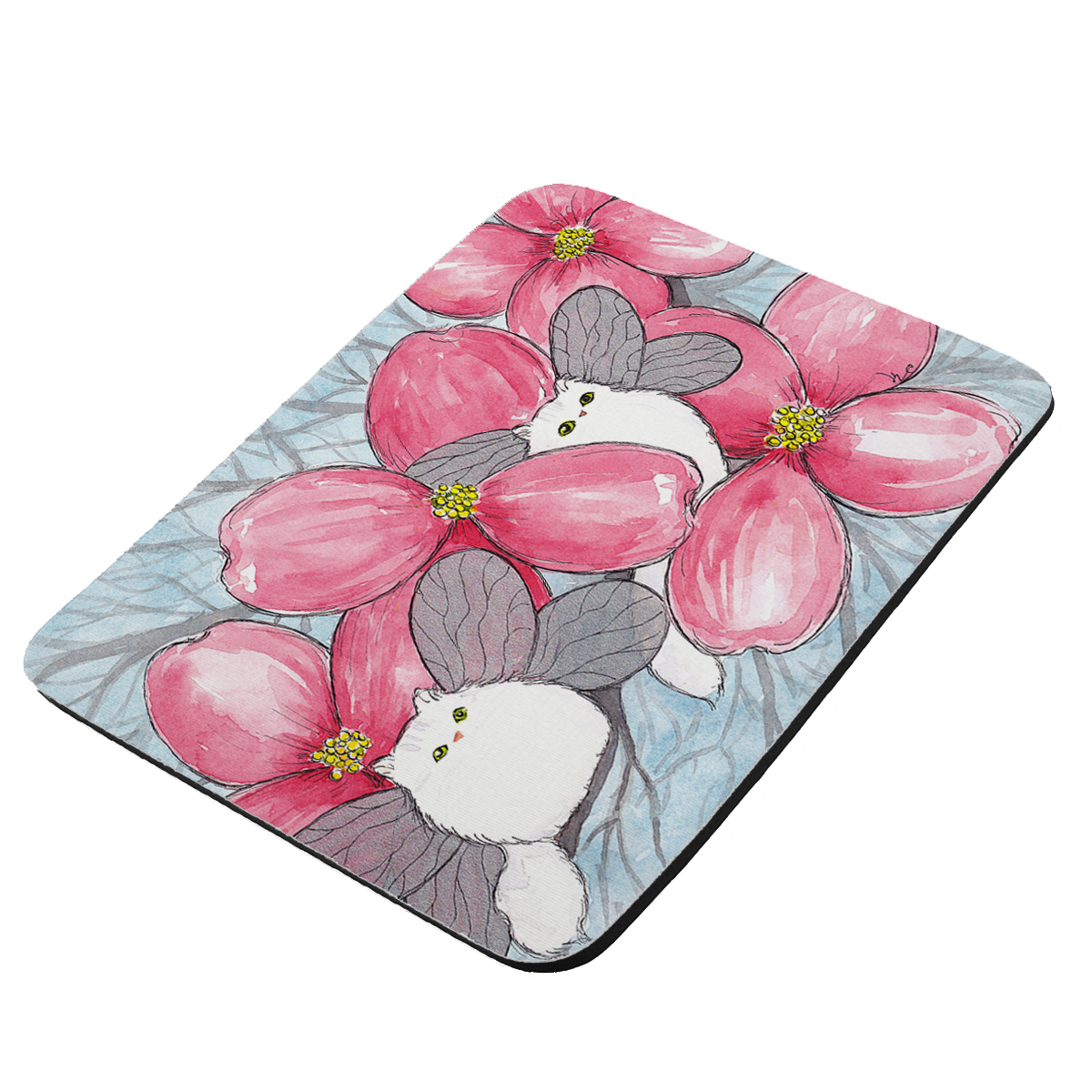 Silver Chincilla Persian Kitty Fairies with Pink Dogwood Fantasy Cat Art by Denise Every - KuzmarK Mousepad / Hot Pad / Trivet