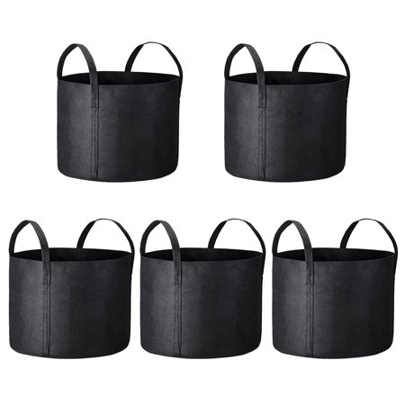 Yescom 5 Pack Grow Bags Fabric Pots Root Pouch with Handles Flower Vege Planting Container Breathable 15 Gallon