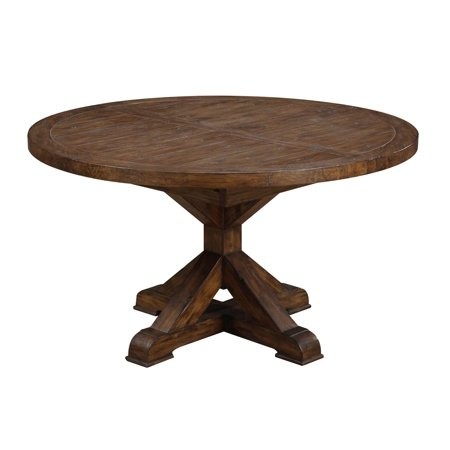 "Emerald Home Chambers Creek Brown 54"" Round Dining Table with Extension Leaf And Farmhouse Trestle Base"