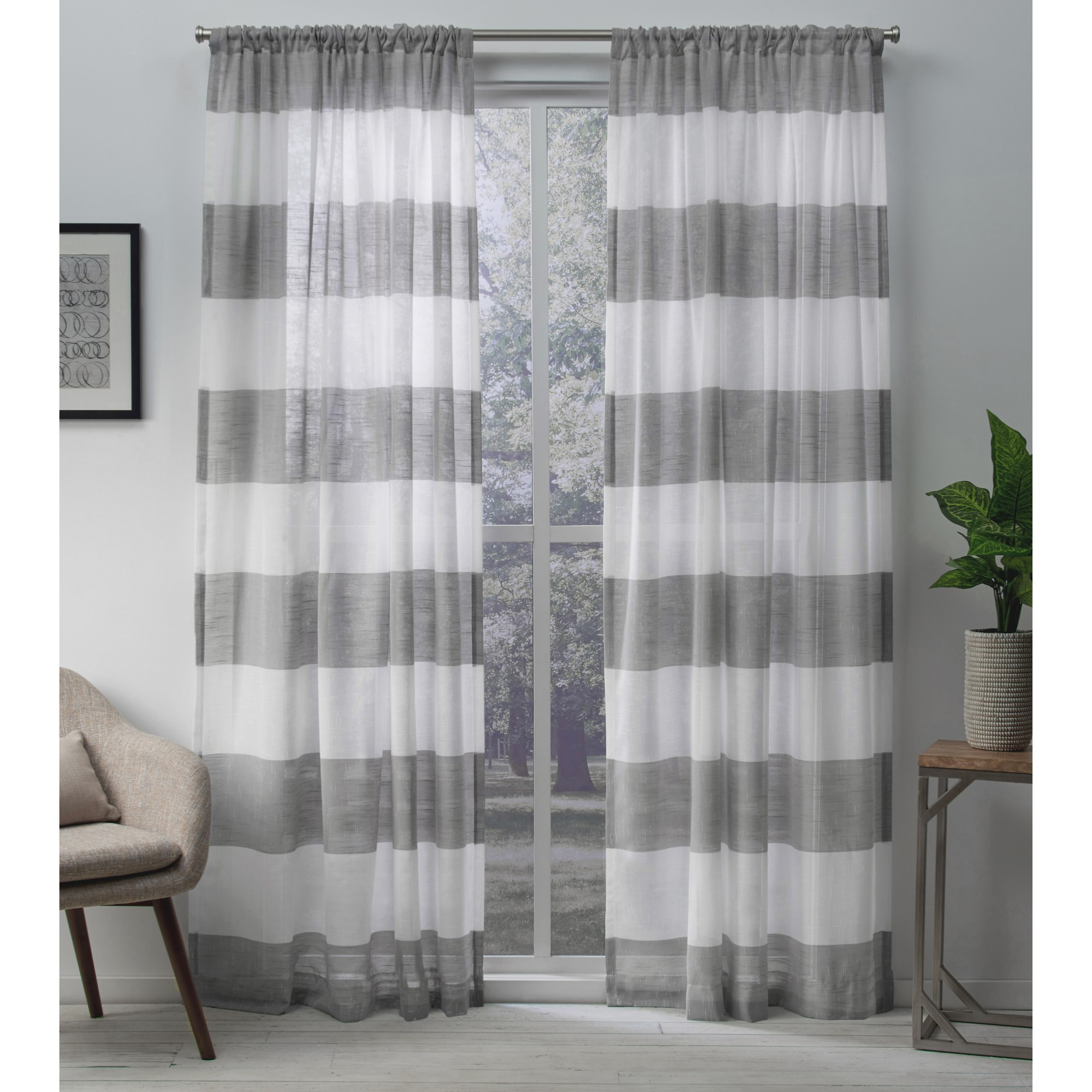 Exclusive Home Darma Sheer Linen Window Curtain Panel Pair with Rod Pocket