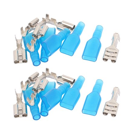 10 Pcs 19mm Length Female Spade Crimp Terminal Connectors + Insulated