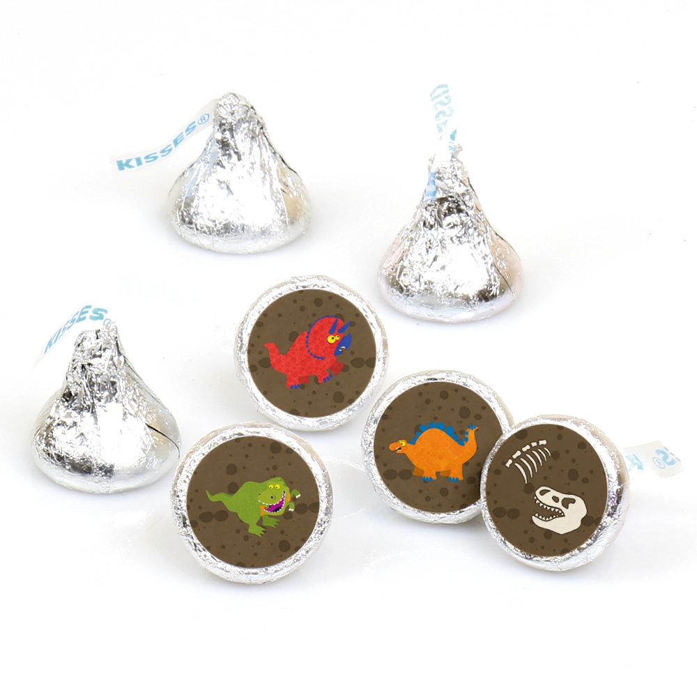 Dinosaur Birthday - 108 Round Candy Labels Birthday Party Favors - Fits Hershey's Kisses