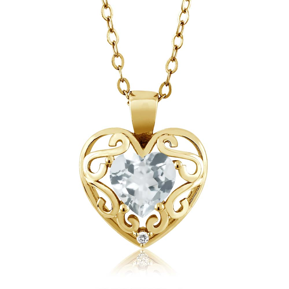 0.68 Ct Heart Shape Sky Blue Aquamarine Sapphire Gold Plated Silver Pendant