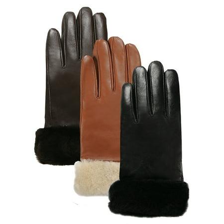Luxury Lane Women's Shearling Fur Trim Cashmere Lined Lambskin Leather Gloves Luxury Scottish Cashmere