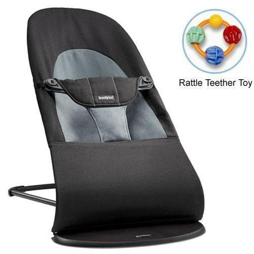 Baby Bjorn 005022US Bouncer Balance Soft Cotton Black Dark Gray with Rattle Te by BabyBj%C3%B6rn