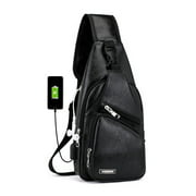 EEEkit Sling Backpack Anti-Theft Leather Bag One Strap Crossbody Shoulder for Travel Sport Hiking Daypacks Nintendo Switch Lite Joy-cons and Accessories, for Men Women with USB Charging Port