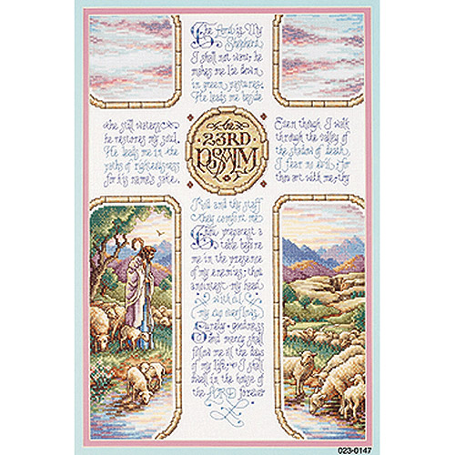 Janlynn 23rd Psalm Counted Cross Stitch Kit 10 1 2 Quot X 16