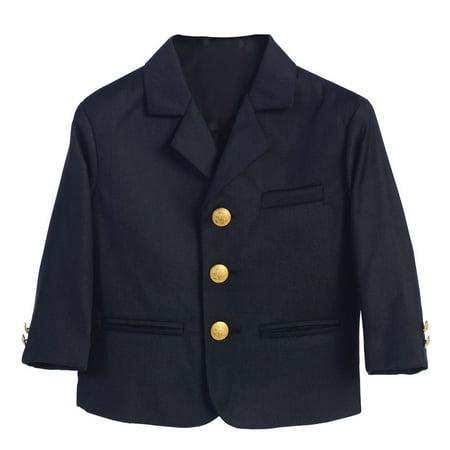 Little Boys Navy Golden Buttons Special Occasion Blazer - Navy Blazer Boys