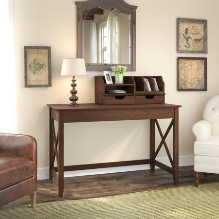 Bush Furniture Key West 48W Writing Desk with Desktop Organizers in Bing Cherry ()