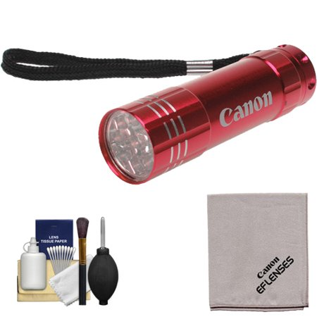 Canon 9 LED Push Button Flashlight (Red) with Canon Cloth Cleaning Kit for EOS 6D, 70D, 7D, 5DS, 5D Mark II III, Rebel T5, T5i, T6i, T6s, SL1 DSLR Camera