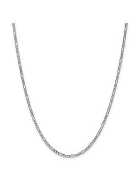 14k 2.5mm White Gold Link Figaro Chain Necklace 20 Inch Pendant Charm