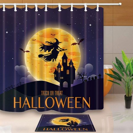 ARTJIA Halloween Decor Witch Flying over the Moon to Castle Shower Curtain 66x72 inches with Floor Doormat Bath Rugs 15.7x23.6 inches](Floor Halloween Level 5)