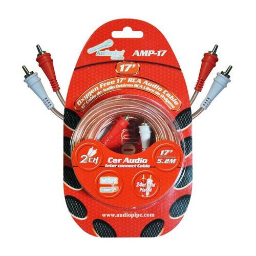 Audiopipe AMP17 RCA Cable 17' OFC Clear Installer Series