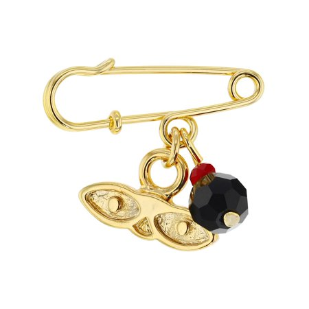 14k Gold Plated St Lucy Simulated Azabache Protection Baby Pin Brooch
