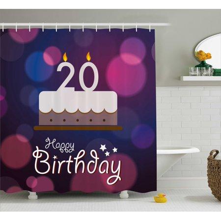 20th Birthday Decorations Shower Curtain Twenty Cake Cartoon Design On Navy Blue Backdrop