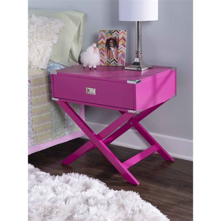 Linon Peggy X Base Wood Accent Table in Pink - image 1 de 11