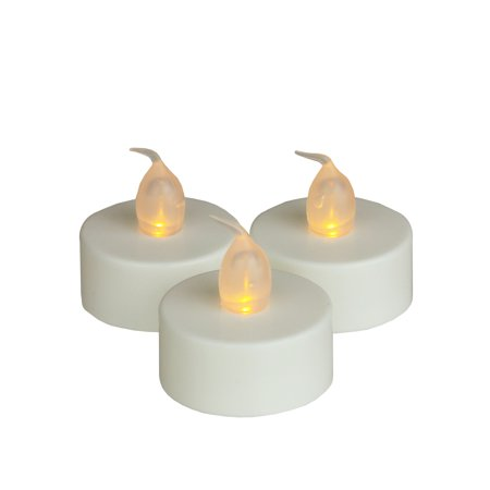 Northlight Set of 3 Prelit LED Battery Operated Flickering Amber Tea Light Candles 1.5