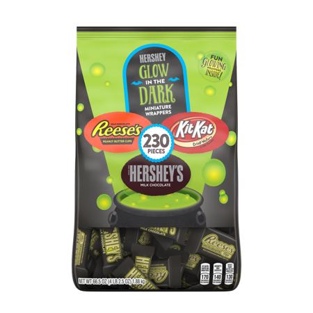 Hershey's, Halloween Chocolate Snack Size Assortment Glow in the Dark Candy, 230 Ct, 66.5 Oz