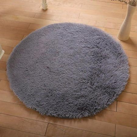 - NK 32'' Round Rugs Circular Bedroom Fluffy Rugs Anti-Skid Shaggy Area Office Sitting Drawing Room Gateway Door Carpet Brown Pink Blue Grey