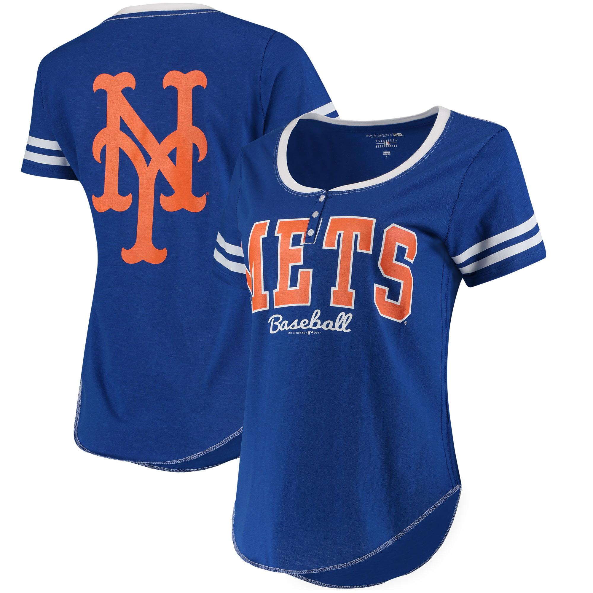 New York Mets 5th & Ocean by New Era Women's Slub Henley T-Shirt - Royal/White