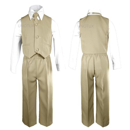 Khaki Baby Boys Toddler Wedding Formal Party Vest Necktie Sets Suits - Abc Party Outfits