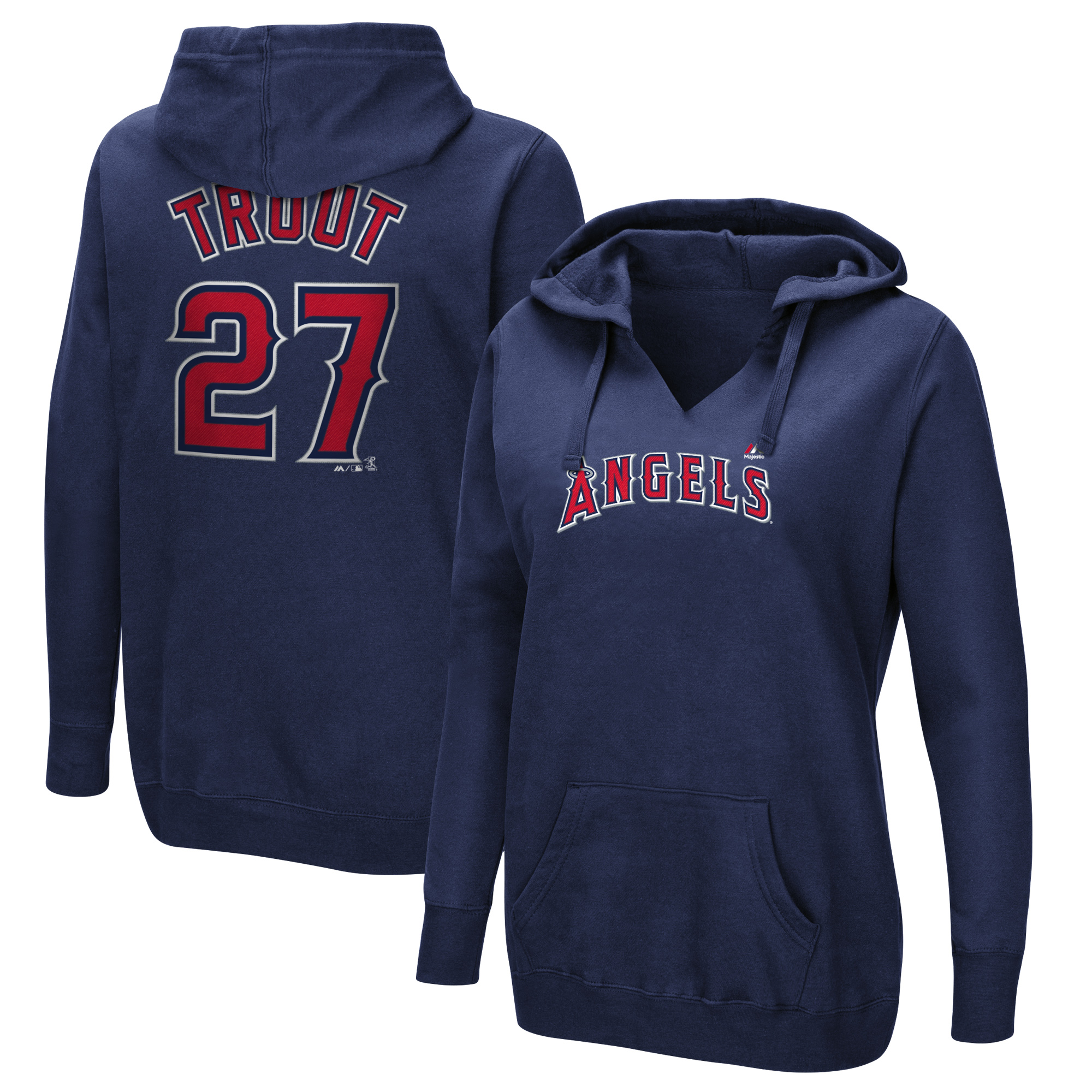 Mike Trout Los Angeles Angels Majestic Women's Authentic Name & Number Pullover Hoodie - Navy