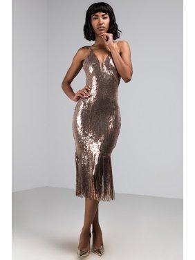 a8b61f6ea Product Image AKIRA Women's Sequin Shiny Fringe Hem V Bodice Sexy Bodycon  NYE Midi Dress