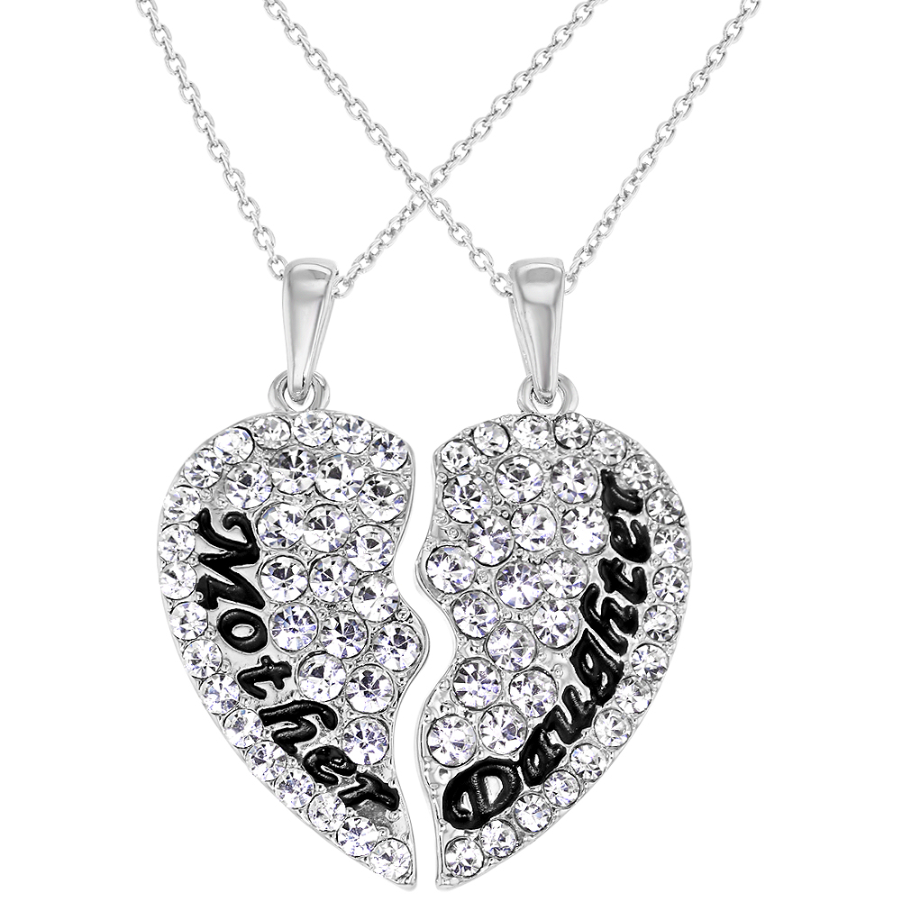 Rhodium Plated Mom Mother Daughter Friend Mommy Heart Pendant Necklace 19""
