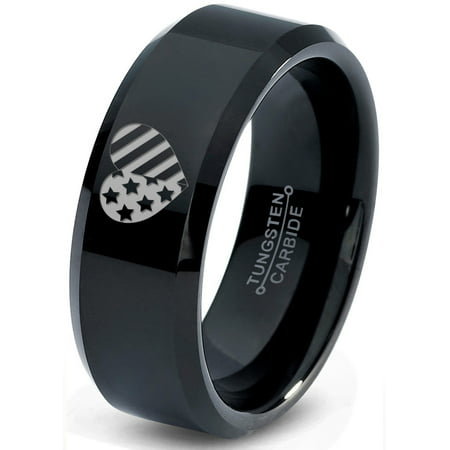 Tungsten Racing Flag Band Ring 8mm Men Women Comfort Fit Black Beveled Edge Polished Nascar Formula 1 Monster Truck Drag Checkered